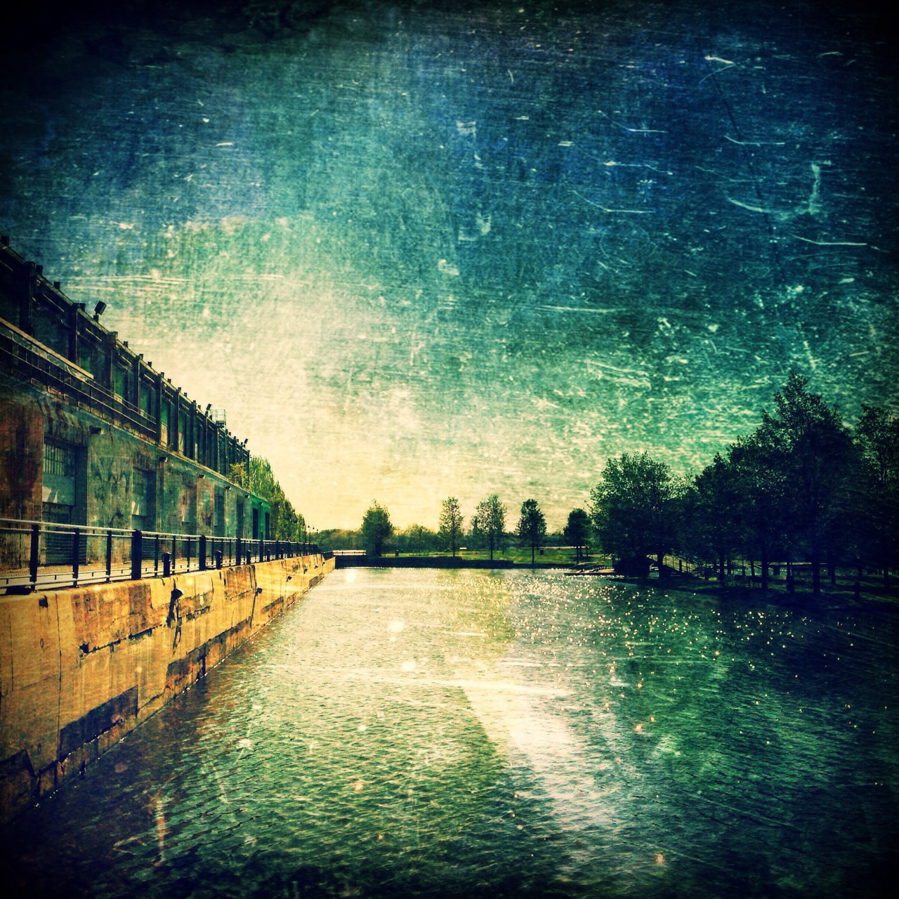 Artistic interpretation of a shot of the old port of Montreal.